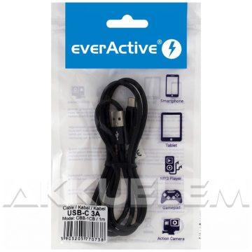 everActive USB-C kábel 3A 1 m FEKETE vászon borít.