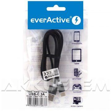 everActive USB-C kábel 3A 1 m FEKETE