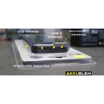 Digitális külső akkumulátor NAVY KÉK 10000mAh USB-C + micro USB bemenet