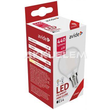 Avide LED Frosted Filament Mini Globe 4W E14 360° WW 2700K 3év gar