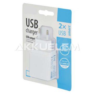2xUSB smart töltő adapter 3,1A DC5V V0114