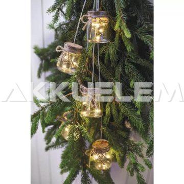 Karácsonyi fényfüzér 15LED kisbefőtt mintás 3xAA