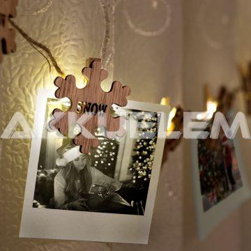 Karácsonyi fényfüzér 10LED fa hópihe mintás, csipeszes