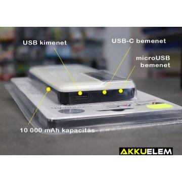 Digitális külső akkumulátor FEHÉR 10000mAh USB-C + micro USB bemenet