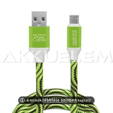 USB adatkábel microUSB szövet bevonat 2m