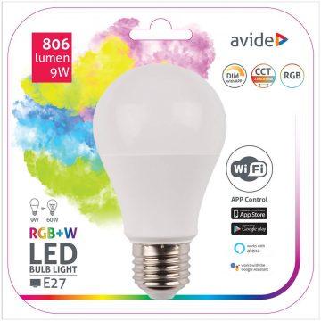 Avide E27 LED 9W 806lm Globe LED-izzó RGB Smart Wifi APP