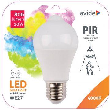 Avide E27 LED 10W 806lm Globe LED-izzó mozgás+fényérzékelős