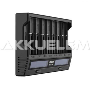 XTAR VC8 Li-ion/Ni-MH QC-USB-s akkumulátor töltő-tesztelő