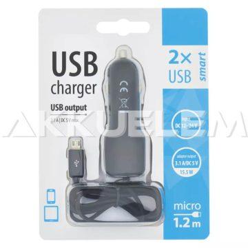 Autós töltő adapter USB 3,1A DC5V 12-24V 1,2m kábel V0217