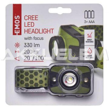 Cree LED 330lm fejlámpa P3539 fókuszálható, terepszínű, vörös fénnyel