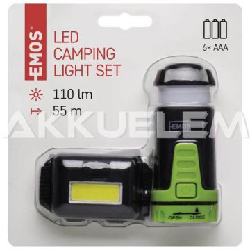 Kemping szett Fejlámpa + kempinglámpa Cree LED 110+65 lm P4007