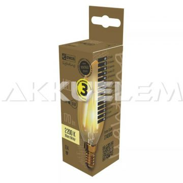Vintage E14 170lm 2W 18W 2200K LED Filament gyertya LED-izzó