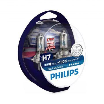 Philips Racing Vision H7 12V 55W autó fényszóró izzó (2db/bliszter)