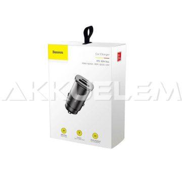 Baseus 1xUSB-A 1xUSB-C BS-C15C gyors 4A PD 3.0 12-24V 46.4 23.6 mm autós adapter