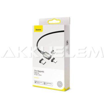 Baseus Zinc USB-C Lightning micro-USB mágneses 2m gyorstöltő kábel 2.4A 3in1