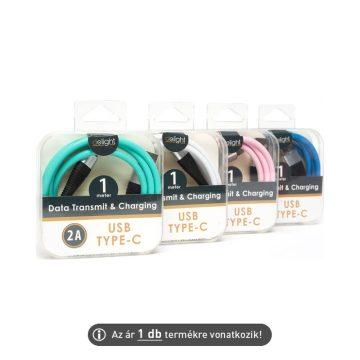 USB/USB-C adatkábel 1m színes szövetborítással