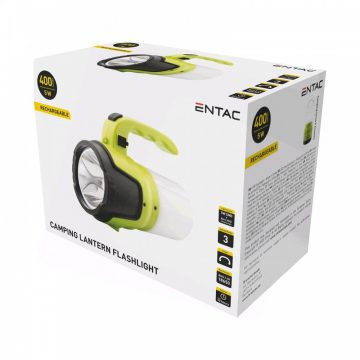 Kereső lámpa + Kemping lámpa 5W 400lum tölthető 18650 akkuval Entac