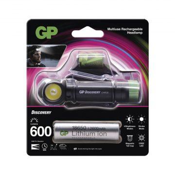 GP CHR35 fejlámpa 600lm Cree LED tölthető