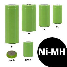 Ni-MH akkucellák (1,2V)